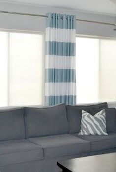 diy grommet top curtains, home decor, living room ideas, reupholster, window treatments, windows, I love the bold stripe and the color is perfect with all of the grey in my room