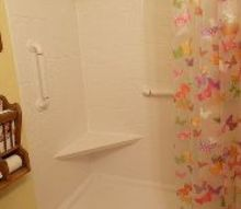 handicap accessible shower, bathroom ideas, After shower stall