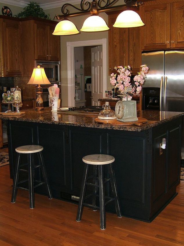 Painting an oak island black hometalk for Dark kitchen cabinets light island