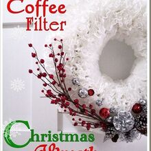 coffee filter christmas wreath, crafts, seasonal holiday decor, wreaths, White coffee filters with some added decorations of your choice