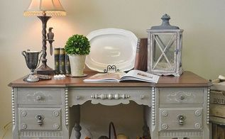 painted antique desk with lots of carved details, painted furniture, A full view of the desk after