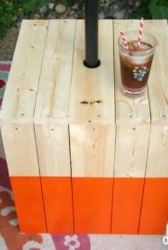 a diy color block umbrella table, outdoor living, woodworking projects