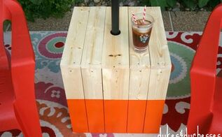a diy color block umbrella table, outdoor living, woodworking projects