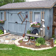 is it possible to hoard garden sheds, gardening, outdoor living, Blue shed with garden art birdhouses and a side potting area