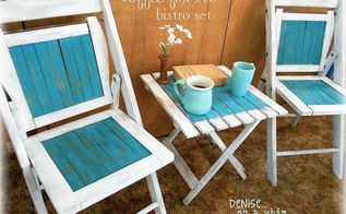 a cute little bistro set, painted furniture, Vintage White and Peacock Paints give these pieces a fun beachy theme
