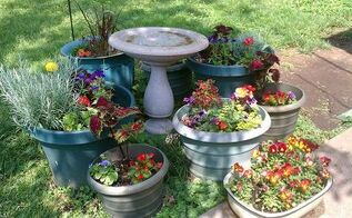 q how can i avoid spending a fortune on potting soil, container gardening, gardening, This is one of the areas in my yard with large and small pots I need economical way to fill old and new ones