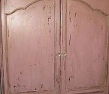 computer armoire re do, flooring, painted furniture, soft pink with antique gold bronze glaze