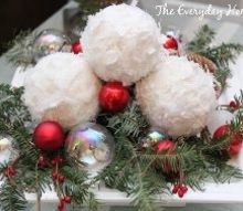 how to make snowball christmas ornaments, christmas decorations, crafts, seasonal holiday decor