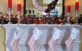 french ticking burlap and mercury glass my christmas mantel, christmas decorations, seasonal holiday decor, wreaths, French ticking burlap and mercury glass Christmas mantel