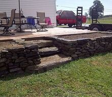 drystack stone raised bed, gardening, outdoor living, raised garden beds, drystacked raised bed and steps constructed with Pa fieldstone