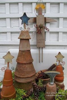 winter decorating at our fairfield home garden, flowers, gardening, seasonal holiday d cor, Flower Pot Trees on the potting sink