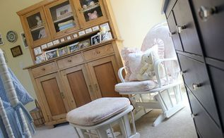 the vintage hutch in olivia s room, bedroom ideas, home decor, kitchen cabinets, painted furniture