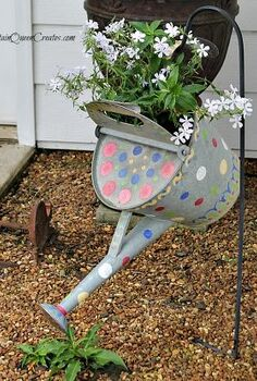 re purpose an old watering can into a hanging flower pot, flowers, gardening, repurposing upcycling