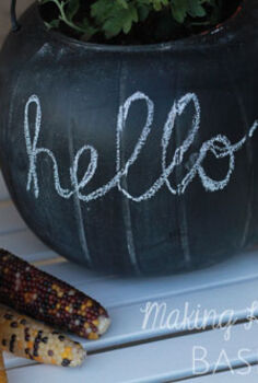 chalkboard pumpkin planters, chalkboard paint, crafts, halloween decorations, repurposing upcycling, seasonal holiday decor
