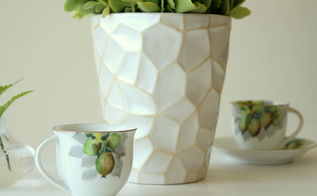 white gold painted pot, home decor, painting, repurposing upcycling, Add a touch of gold accent to a plain white pot