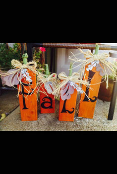 fall pumpkins out of 2x4s, crafts, seasonal holiday decor