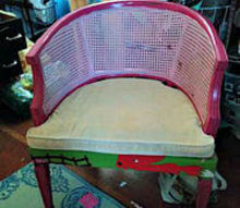 q what would you do barrel cane chair find, painted furniture, This photo is from the actual Craigslist ad not sure how it enticed me to buy it but it did Pepto Bismol pink that s what comes to mind