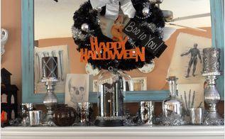 my halloween mantle, halloween decorations, seasonal holiday d cor, Halloween Mantle