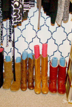 want to purge want to organize don t want to spend any money doing it, closet, organizing, shelving ideas, Noodles in the boots Perfect way to keep their form