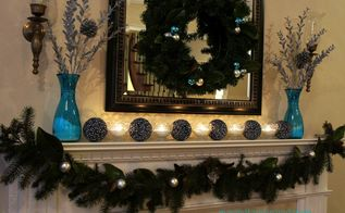 blue christmas mantel and family room decor, christmas decorations, seasonal holiday decor, wreaths, A wreath garland candles and ornaments keeping it simple