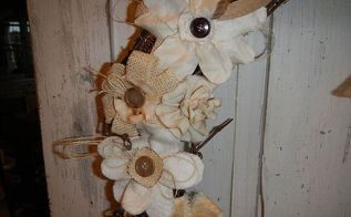 shabby fabric flower grapevine wreath, crafts, wreaths, Shabby Flowers on a Grapevine Wreath