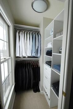 men s master closet renovation, closet, shelving ideas, We built most of the shelves ourselves using melamine covered boards and furring strips where necessary