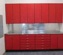 organizing the garage with ferrari red cabinetry, garages, organizing, storage ideas