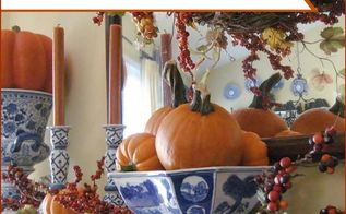 my fall mantel blue white with bittersweet and pumpkins, seasonal holiday d cor, wreaths, I combined blue and white chinoiserie with pumpkins and faux bittersweet for a different look on my fall mantel