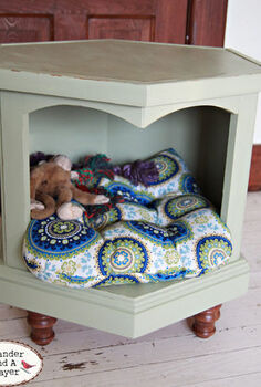 pinterest inspired dog bed, chalk paint, painted furniture, pets animals, repurposing upcycling, I bought a chair cushion for the bed