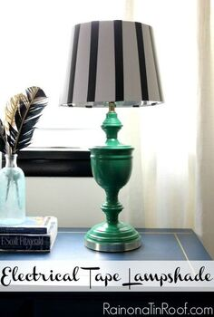 electrical tape lampshade, crafts, home decor, repurposing upcycling, I went with simple black and white stripes but you could do any pattern you wanted to