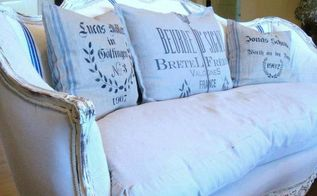 the french sofa redo, painted furniture, Grain sack and drop cloth upholstery