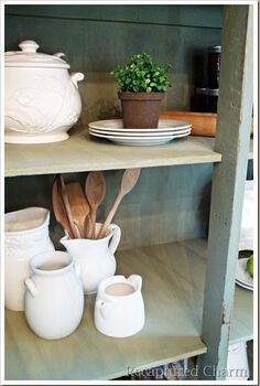 old armoire to kitchen pantry, home decor, painted furniture, rustic furniture, With shelves this piece could be used as anything from kitchen storage to bookshelves or even linen closet