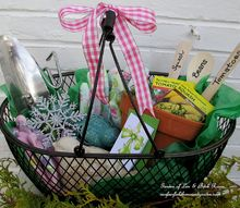 diy gifts for gardeners, container gardening, crafts, gardening, A wire tote with garden gloves tools seeds pots and row markers Very Handy