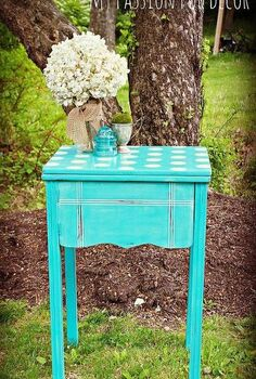 ugly sewing cabinet turned polka dot beauty, painted furniture, Sewing table transformation in Chalk Paint by Annie Sloan in Provence and Cream The top is a stencil by Cutting Edge Stencils