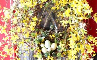 an easy spring bird nest with speckled eggs project, crafts, seasonal holiday decor, wreaths, or nestled in a Forsythia Wreath