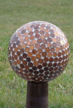 bowling ball gazing balls, gardening, pennies all heads up the clear coat really makes this sparkle in the sunshine