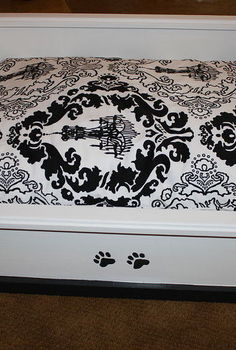homemade dog cat beds, diy, pets animals, woodworking projects, This one was done with regular latex paint and the Goodwill fabric