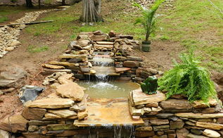 continued progress on the pond pathway etc for daughters wedding, electrical, outdoor living, ponds water features, Standing on the bridge shooting straight up well what will be a bridge in a few more days