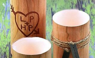 a valentine s day gift for the guys faux wood candles, crafts, Faux Wood Valentine s Day Candles