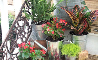 porch steps container gardens and accessories, container gardening, curb appeal, gardening, I 3 galvanized