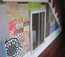 patchwork wall, crafts, decoupage, home decor, wall decor, Patchwork wall with collected papers of all kinds Love2Repurpose
