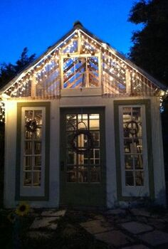 greenhouse from old windows and doors, doors, gardening, Another pic of my greenhouse at night