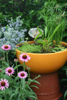 container water gardens, outdoor living, patio, ponds water features, Directions for making this cute container water garden can be found at