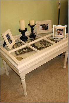 more great upcycling project ideas using architectural scraps, painted furniture, Hinged Wooden Window Shadowbox Table