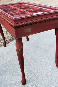 more great upcycling project ideas using architectural scraps, painted furniture, Window table with Queen Anne legs that I painted red