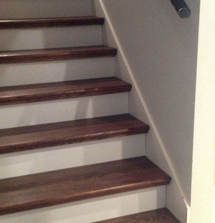 from carpet to wood stairs redo cheater version hometalk. Black Bedroom Furniture Sets. Home Design Ideas
