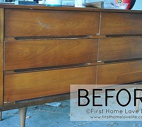 Painted Mid Century Modern Dresser, Chalk Paint, Painted Furniture, BEFORE