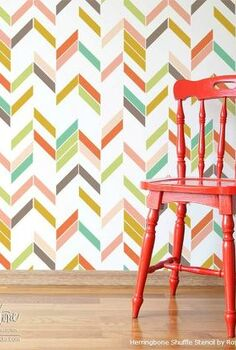 painting chevron and herringbone patterns the easy way with stencils, painted furniture, Stenciled herringbone pattern in vintage modern colors