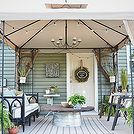 back patio makeover, outdoor furniture, outdoor living, painted furniture, patio, The patio makeover complete