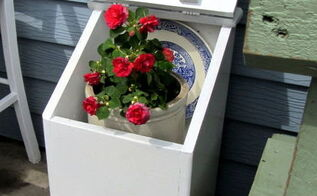 a re purposed country potato amp onion bin, container gardening, gardening, repurposing upcycling, I painted it white